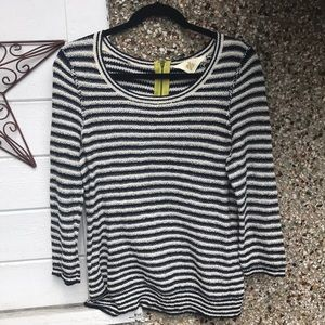 Anthropologie knit top Sz L navy stripes